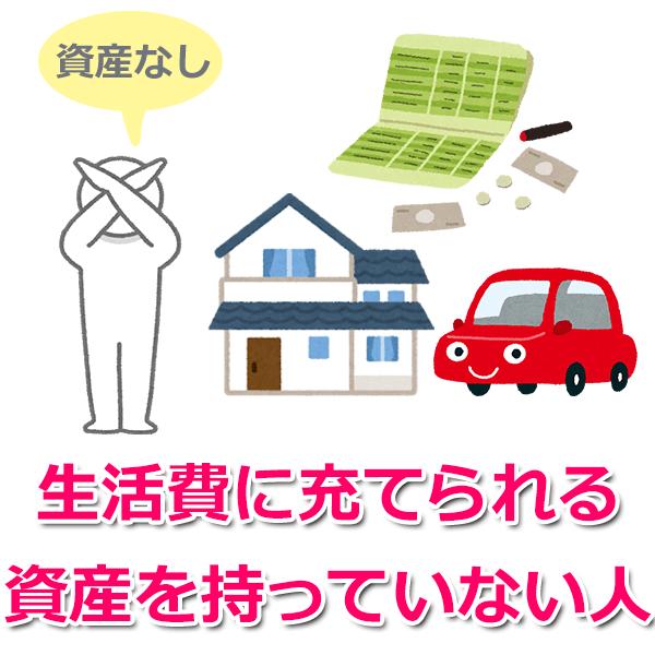 4.生活費にあてられる資産をもっていない人(預金、土地、車など)