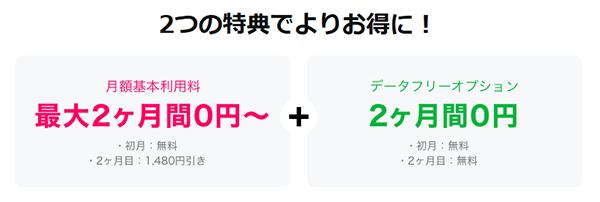 キャンペーン【対象のSNS使い放題で最大2ヶ月0円】